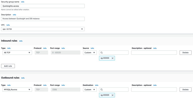 Quicksight Security Group Settings
