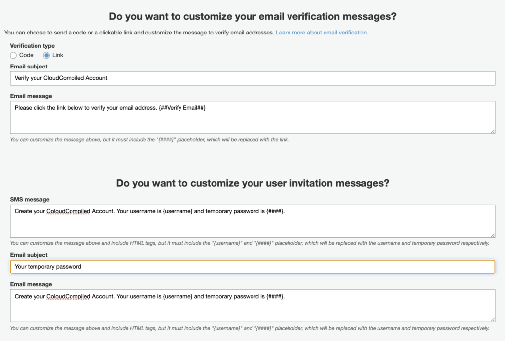 customize message