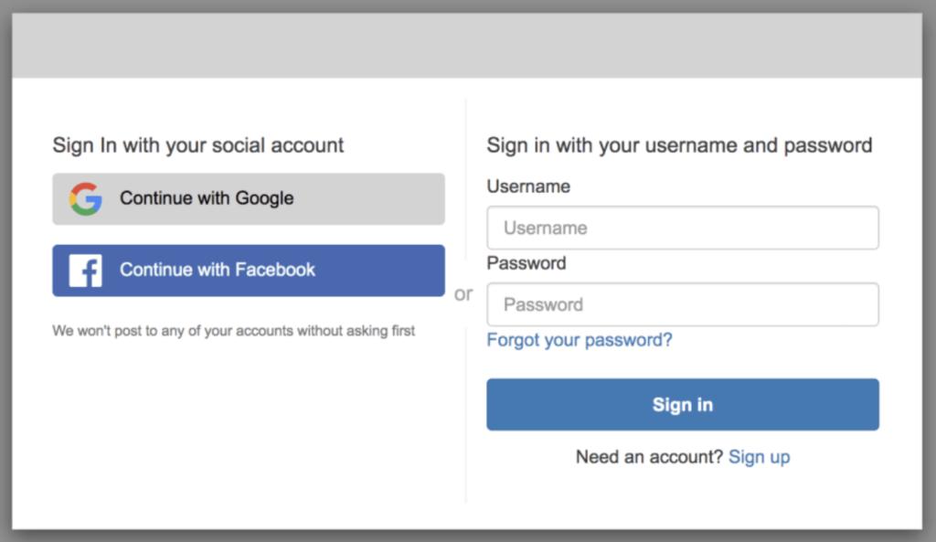 Amazon Cognito Hosted UI screen