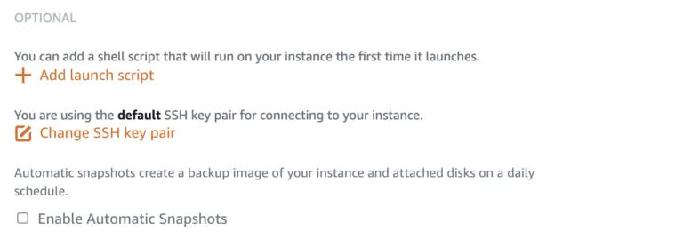 AWS Lightsail key option
