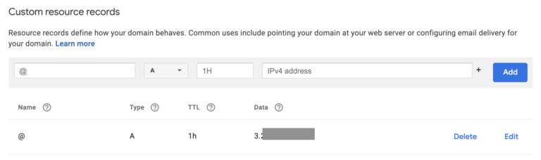 Lightsail DNS records