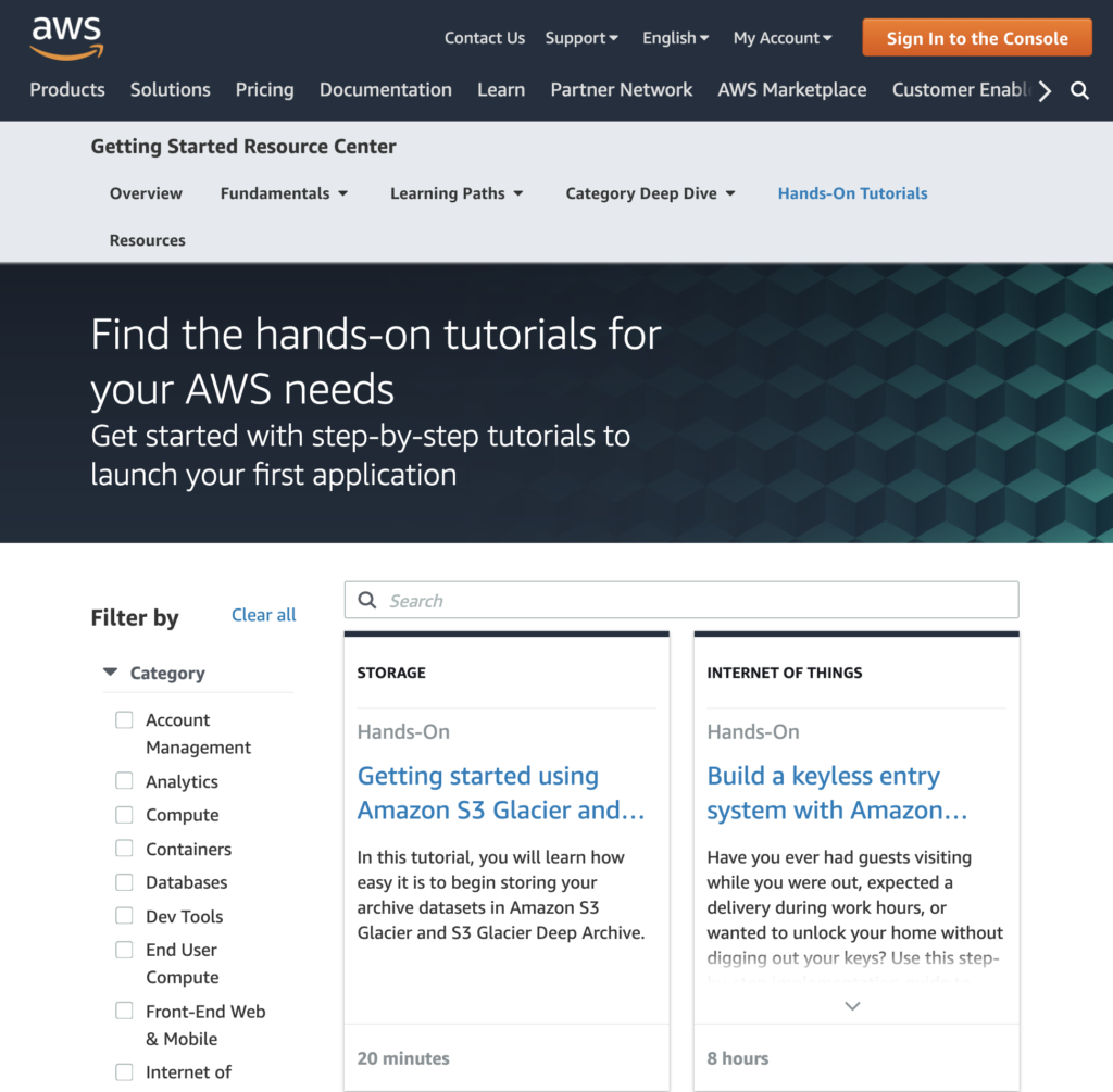 Tutorials by AWS