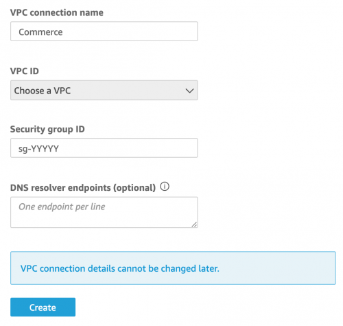 Quicksight VPC Connection settings
